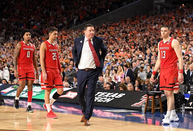 MINNEAPOLIS, MINNESOTA - APRIL 08: Head coach Chris Beard of the Texas Tech Red Raiders reacts to a play during the second half of the game against the Virginia Cavaliers in the 2019 NCAA men's Final Four National Championship game at U.S. Bank Stadium on April 08, 2019 in Minneapolis, Minnesota. (Photo by Brett Wilhelm/NCAA Photos via Getty Images)