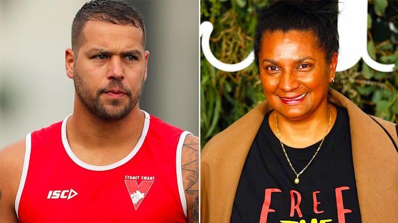 Pictured left is AFL star Buddy Franklin and Australian Olympic legend Nova Peris is on the right.