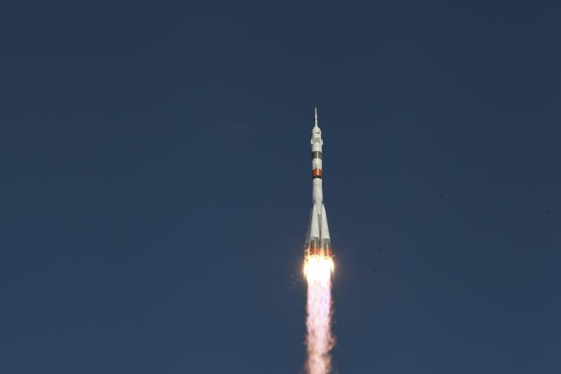 In this photo taken on Thursday, Aug. 22, 2019, and distributed by Roscosmos Space Agency Press Service, the Russian Progress 73 cargo ship blasts off from the launch pad at Russia's space facility in Baikonur, Kazakhstan.  The new Russian rocket, that is expected to replace the current model sending manned missions into space, blasted off from Kazakhstan on Thursday, carrying a Soyuz capsule with a humanoid robot. (Roscosmos Space Agency Press Service photo via AP)