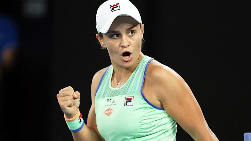 Ashleigh Barty, pictured here in action at the Australian Open in January.