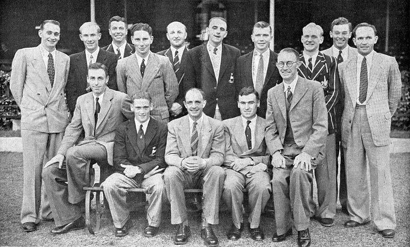 John Watkins with the South African team on ANZ tour in 1952/53. Photo- Twitter