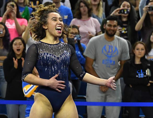 UCLA Bruins gymnast Katelyn Ohashi during her floor exercise routine where she scored perfect 10 in the meet against the Arizona Wildcats at Pauley Pavilion on February 16, 2019 in Los Angeles, California. (Photo by Jayne Kamin-Oncea/Getty Images)