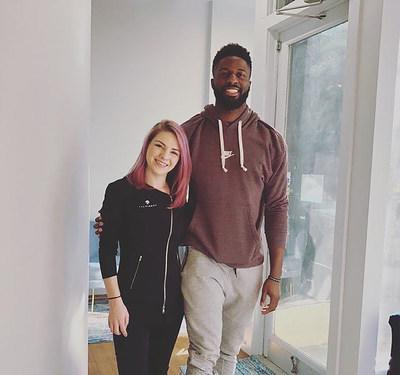 https://thefinery.net/ Brooklyn Nets player David Nwaba with Chelsea Marandola, Clinical Director at The Finery. David was the first to be treated in The Finery's new location in downtown Brooklyn.