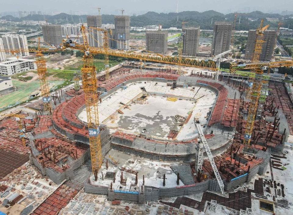 The under-construction football stadium in Guangzhou that Evergrande was developing  (AFP via Getty Images)