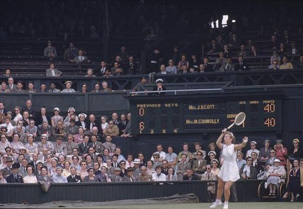 Wimbledon: Maureen Connolly in action at All England Club, London