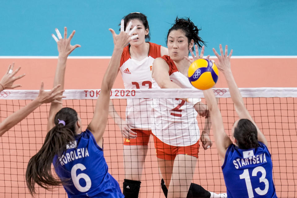 China's Zhu Ting spikes the ball during a women's volleyball preliminary round pool B match between China and Russian Olympic Committee at the 2020 Summer Olympics, Thursday, July 29, 2021, in Tokyo, Japan. (AP Photo/Manu Fernandez)