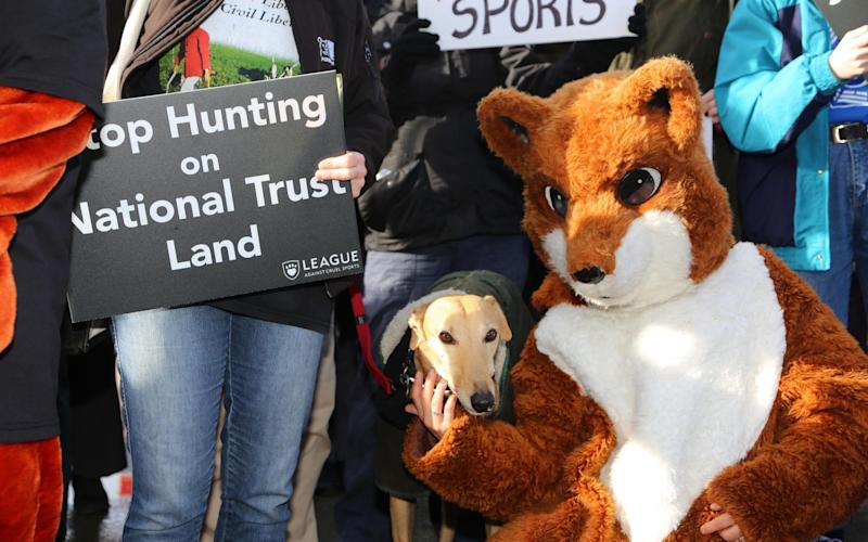 Anti hunt protesters outside the Steam Museum in Swindon where the National Trust held their Annual General Meeting today. - TMG John Lawrence