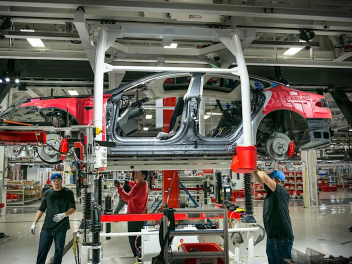 "Tesla's factory in Fremont, California. <p class=""copyright"">David Butow/Corbis News via Getty Images</p>"