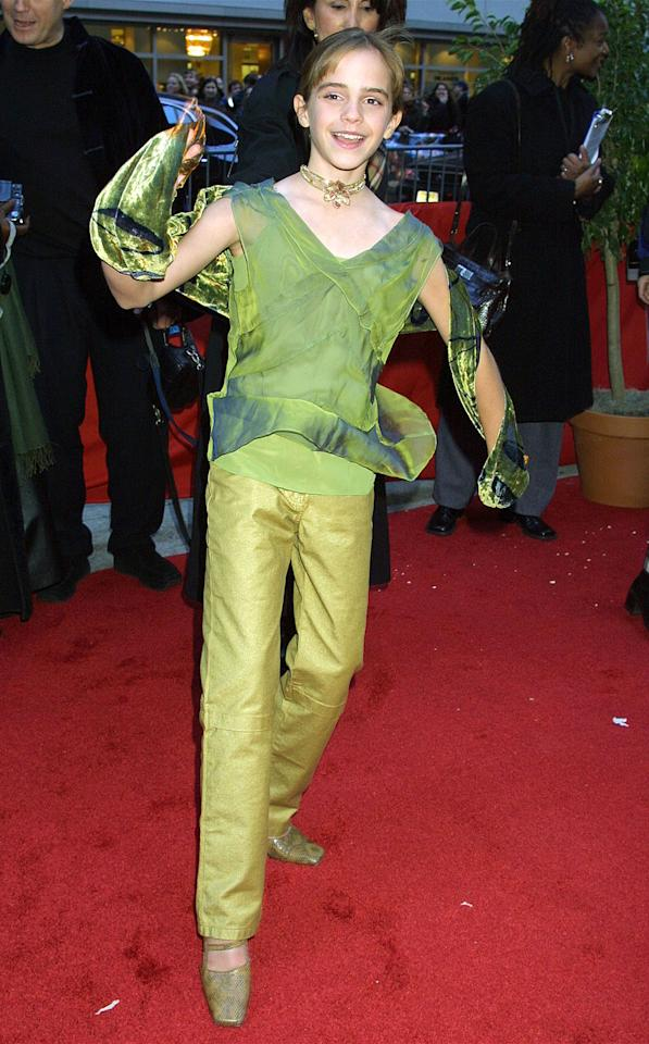 <p>Watson is giddy and green as she attends the premiere of <em>Harry Potter and the Sorcerer's Stone</em> on Nov. 11, 2001. (Photo: Getty Images) </p>