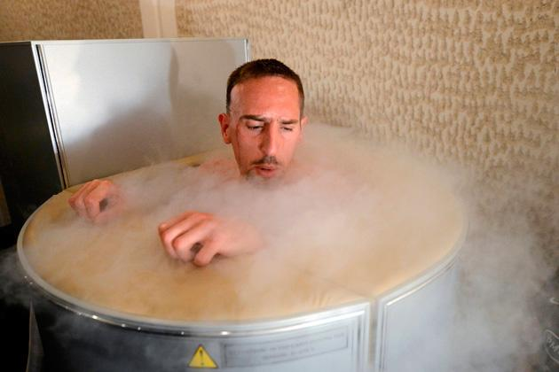 France's national soccer team midfielder Franck Ribery is seen in a sauna at the team's training center in Kircha June 7, 2012, on the eve of the Euro 2012 soccer championships opening match. REUTERS/Franck Fife/Pool