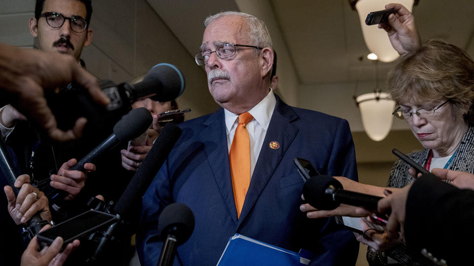 Rep. Gerry Connolly, D-Va., listens to a question from a reporter as he leaves a closed door meeting where Catherine Croft, a State Department adviser on Ukraine, and Deputy Assistant Secretary of Defense Laura Cooper testify as part of the House impeachment inquiry into President Donald Trump on Capitol Hill in Washington, Wednesday, Oct. 30, 2019. (Photo: Andrew Harnik/AP)