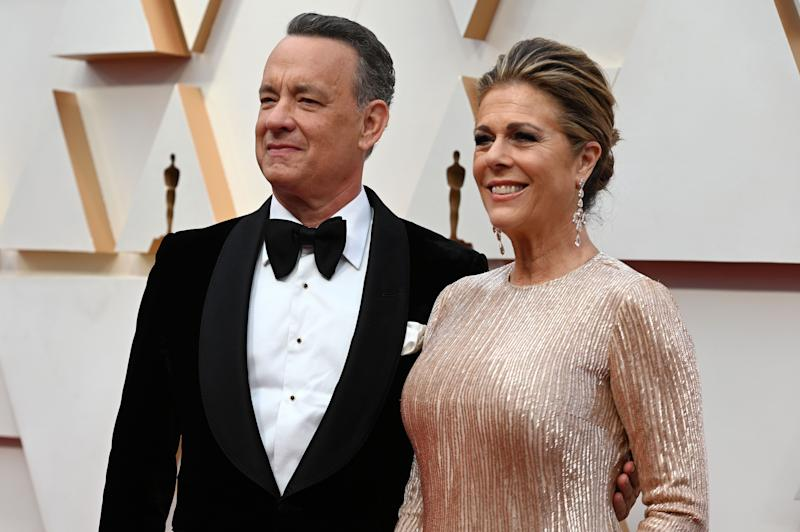US actor Tom Hanks and wife Rita Wilson arrive for the 92nd Oscars at the Dolby Theatre in Hollywood, California on February 9, 2020. (Photo by Robyn Beck / AFP) (Photo by ROBYN BECK/AFP via Getty Images)