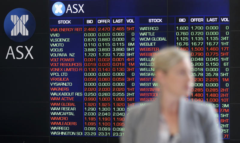 A woman walks through the viewing area at the Australian Stock Exchange in Sydney, Australia, Wednesday, May 1, 2019. Financial markets were mostly closed in Asia on Wednesday for holidays after Wall Street capped a wobbly trading session with meager gains. Australia's S&P ASX 200 rose 0.8% after ANZ reported a 2% increase in its profit, kicking off the earnings season for the country's Big Four banks. (AP Photo/Rick Rycroft)