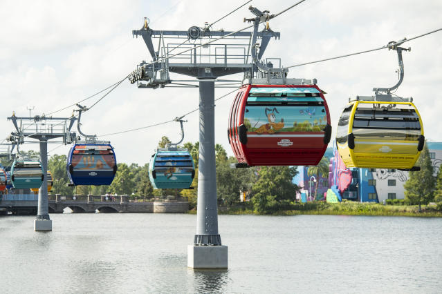 Disney Skyliner began carrying guests high above Walt Disney World Resort in Lake Buena Vista, Fla., on Sept. 29, 2019. (David Roark/Disney)