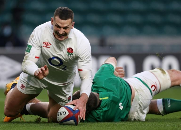 Still trying - England wing Jonny May (L) after completing a end-to-end move for his second try in an 18-7 Autumn Nations Cup win over Ireland at Twickenham