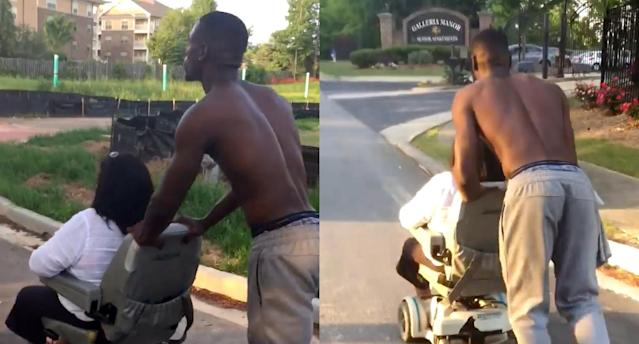 A young man who spotted a disabled woman on the side of the road pushed her wheelchair all the way home. (Photo: Facebook/Gifted King)