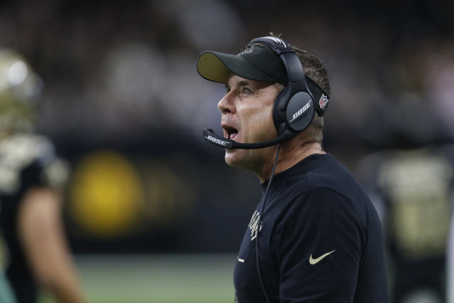 New Orleans Saints head coach Sean Payton looks up, during the first half at an NFL football game against the Carolina Panthers, Sunday, Nov. 24, 2019, in New Orleans. (AP Photo/Butch Dill)