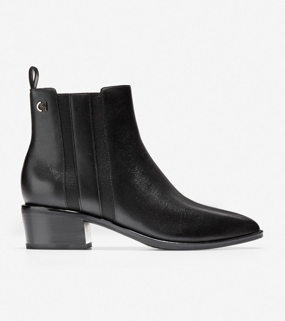 """<br><br><strong>Cole Haan</strong> Valorie Bootie, $, available at <a href=""""https://go.skimresources.com/?id=30283X879131&url=https%3A%2F%2Ffave.co%2F2HAeg1K"""" rel=""""nofollow noopener"""" target=""""_blank"""" data-ylk=""""slk:Cole Haan"""" class=""""link rapid-noclick-resp"""">Cole Haan</a>"""