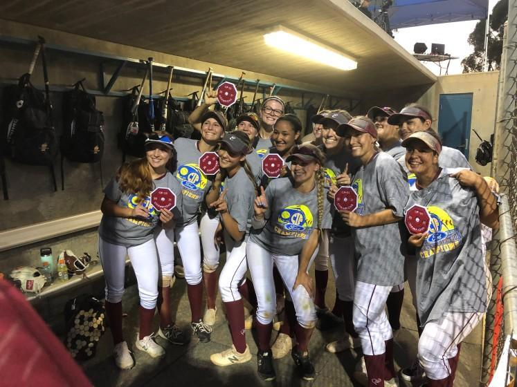 Esperanza High players pose for a photo after winning the Southern Section Division 1 softball title on June 18, 2021, in Irvine.