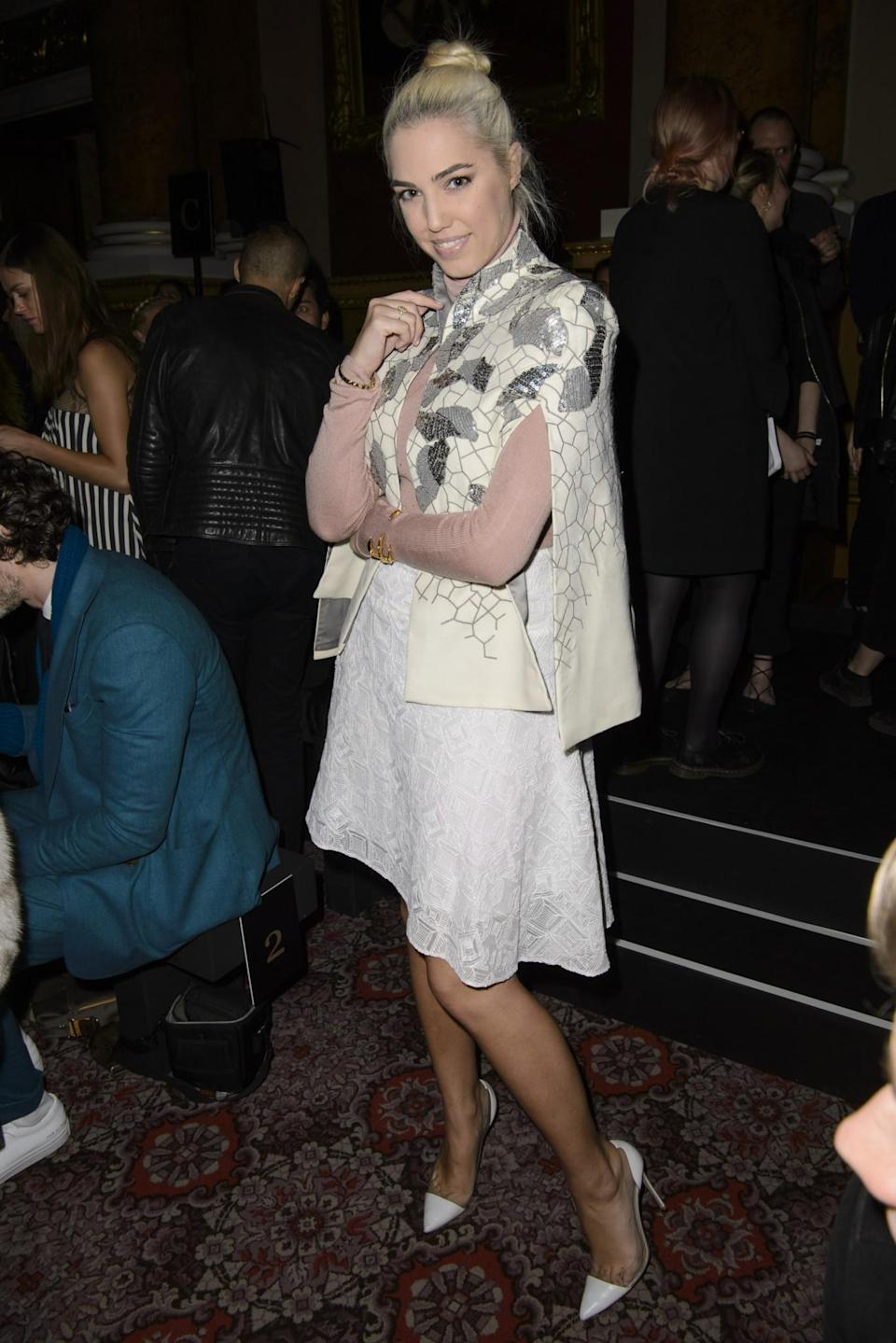 <p>Amber Le Bon wore a very girly floral look. <i>[Photo: PA]</i> </p>
