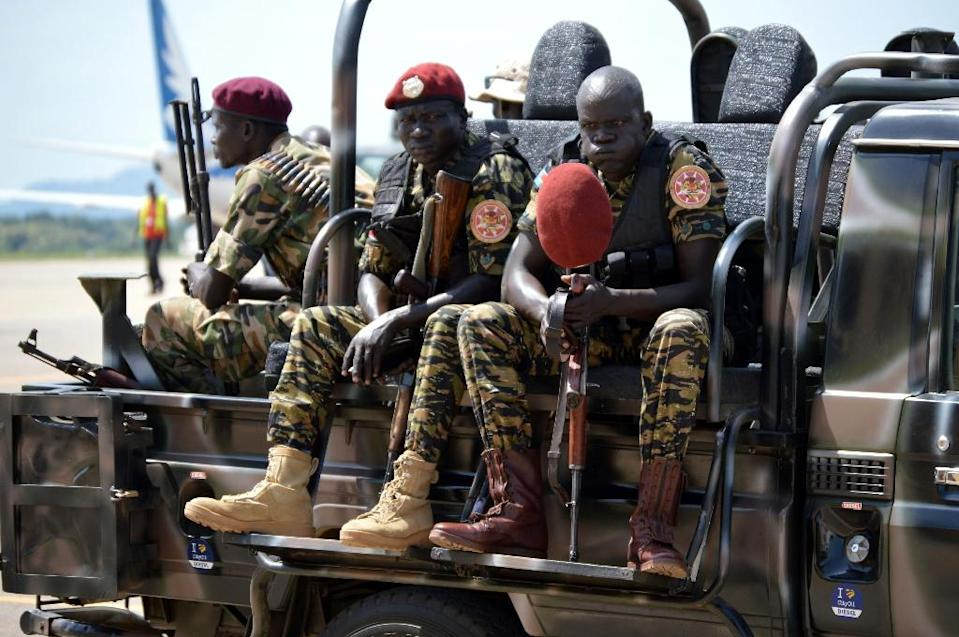 File picture shows South Sudan's soldiers siting on a truck at the airport in Juba (AFP Photo/Samir Bol)