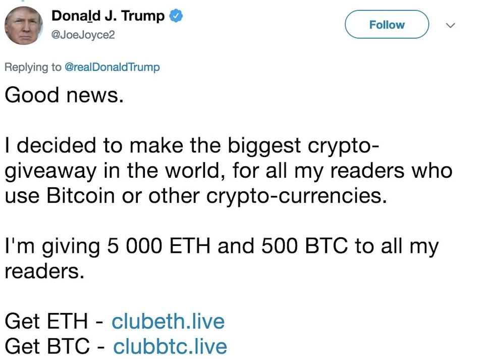 A hacked Twitter account, belonging to British rugby star Joe Joyce and taken over to look like President Trump's account, promotes a crypto scam on Aug. 1, 2018.