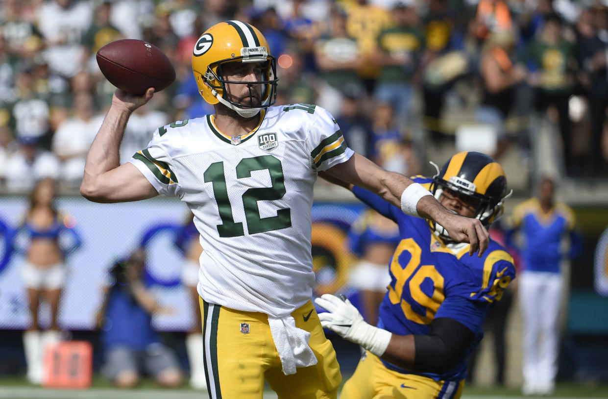 Green Bay Packers quarterback Aaron Rodgers called Tom Brady a unicorn for his footbal longevity. (AP Photo/Denis Poroy)