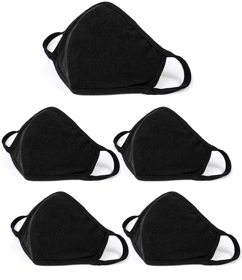 """<p>If you want to stock up on masks so you're not always waiting for them to dry after washing, Amazon has this <a href=""""https://www.popsugar.com/buy/5-Pack-Fashion-Protective-Masks-575820?p_name=5%20Pack%20Fashion%20Protective%20Masks&retailer=amazon.com&pid=575820&price=24&evar1=fit%3Aus&evar9=47488672&evar98=https%3A%2F%2Fwww.popsugar.com%2Ffitness%2Fphoto-gallery%2F47488672%2Fimage%2F47491710%2F5-Pack-Fashion-Protective-Masks&list1=face%20masks%2Cworkouts%2Ccoronavirus&prop13=api&pdata=1"""" class=""""link rapid-noclick-resp"""" rel=""""nofollow noopener"""" target=""""_blank"""" data-ylk=""""slk:5 Pack Fashion Protective Masks"""">5 Pack Fashion Protective Masks</a> ($24). They're simple but just what you need for a workout.</p>"""