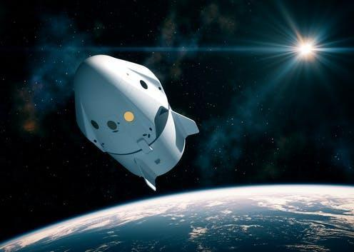 "<span class=""caption"">A capsular spacecraft, similar to this, will bring Crew Dragon into space.</span> <span class=""attribution""><a class=""link rapid-noclick-resp"" href=""https://www.shutterstock.com/image-illustration/new-commercial-space-capsule-orbiting-planet-1543075538"" rel=""nofollow noopener"" target=""_blank"" data-ylk=""slk:3Dsculptor/ Shutterstock"">3Dsculptor/ Shutterstock</a></span>"