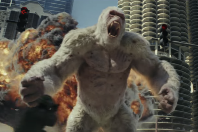 The giant silverback gorilla named George is seen thrashing through the urban jungles of the USA. Source: Warner Bros