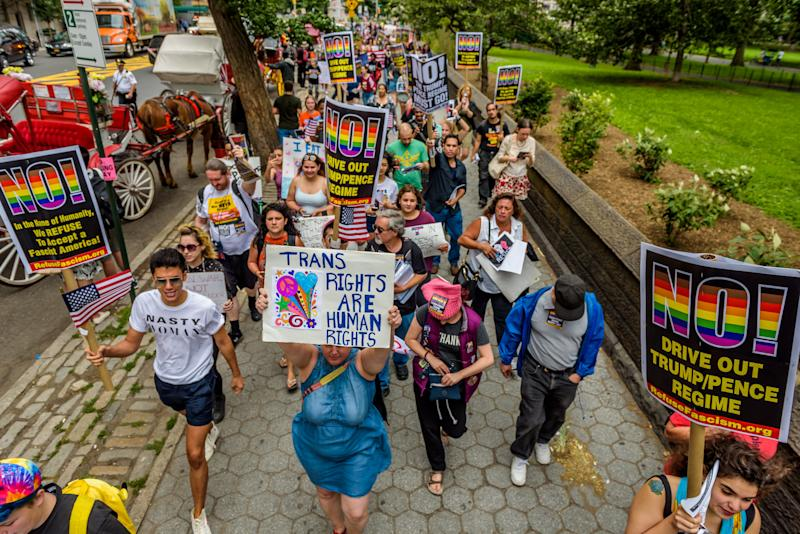 Protesters gather at Columbus Circle on July 29 to protest Trump's transgender military ban. (Pacific Press via Getty Images)