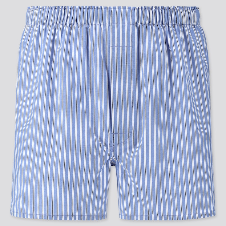"""Wearing men's boxers as shorts for summer? Groundbreaking. <br> <br> <strong>Uniqlo</strong> Woven Striped Boxers, $, available at <a href=""""https://go.skimresources.com/?id=30283X879131&url=https%3A%2F%2Fwww.uniqlo.com%2Fus%2Fen%2Fmen-woven-striped-boxers-423855COL64SMA004000.html"""" rel=""""nofollow noopener"""" target=""""_blank"""" data-ylk=""""slk:Uniqlo"""" class=""""link rapid-noclick-resp"""">Uniqlo</a>"""