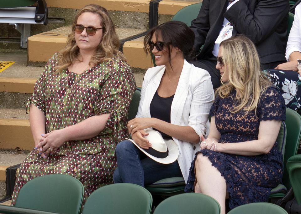 Jul 4, 2019; London, United Kingdom; Meghan Markle, Duchess of Sussex in attendance for the Kaja Juvan (SLO) and Serena Williams (USA) match on day four at the All England Lawn and Croquet Club. Mandatory Credit: Susan Mullane-USA TODAY Sports/Sipa USA
