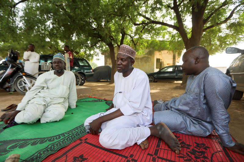 Some of the parents of the abducted JSS Jangebe school girls are seen in Zamfara