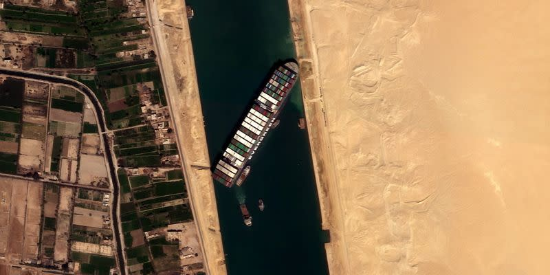 Ever Given container ship is seen in Suez Canal in this satellite image taken by Satellogic's NewSat-16