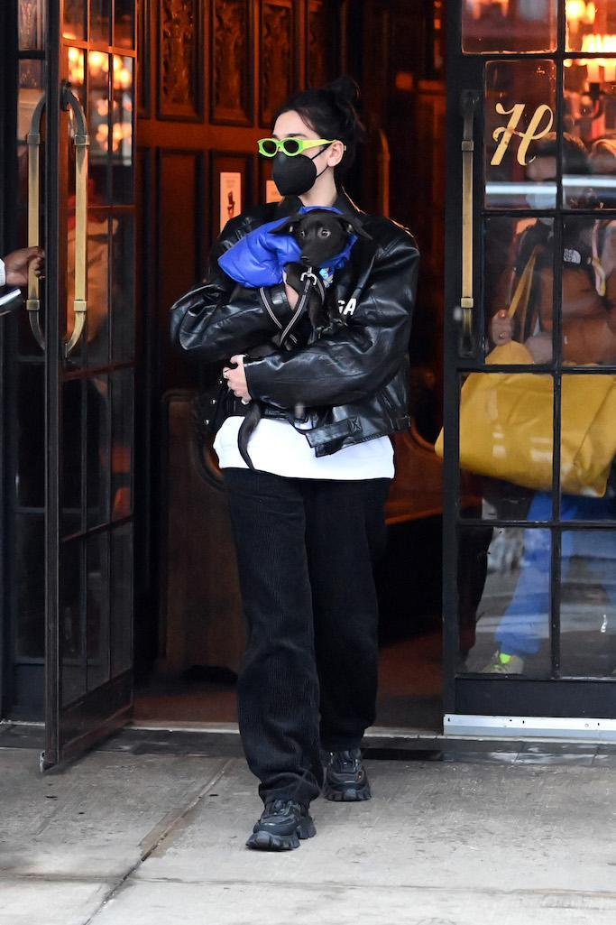 Dua Lipa leaves her New York City Hotel holding her puppy in her arms where fans waiting for her. Pictured: Dua Lipa Ref: SPL5203868 201220 NON-EXCLUSIVE Picture by: Elder Ordonez / SplashNews.com Splash News and Pictures USA: +1 310-525-5808 London: +44 (0)20 8126 1009 Berlin: +49 175 3764 166 photodesk@splashnews.com World Rights, No Poland Rights, No Portugal Rights, No Russia Rights