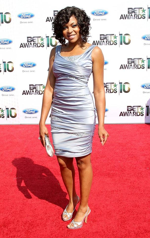 """Taraji P. Henson dazzled in a ruched silver dress by Mandalay. The """"Date Night"""" actress joined Mike Epps in presenting the award for Best Female Hip-Hop Artist to Nicki Minaj. Frederick M. Brown/<a href=""""http://www.gettyimages.com/"""" target=""""new"""">GettyImages.com</a> - June 27, 2010"""