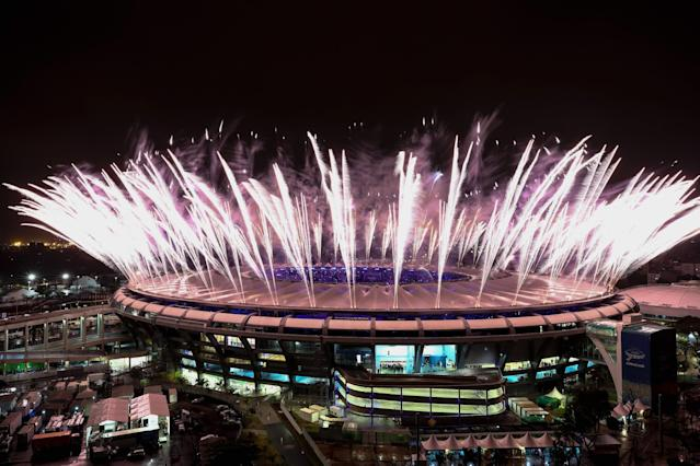 <p>Fireworks explode during the Closing Ceremony 2016 Olympic Games at Maracana Stadium on August 21, 2016 in Rio de Janeiro, Brazil. (Photo by Buda Mendes/Getty Images) </p>