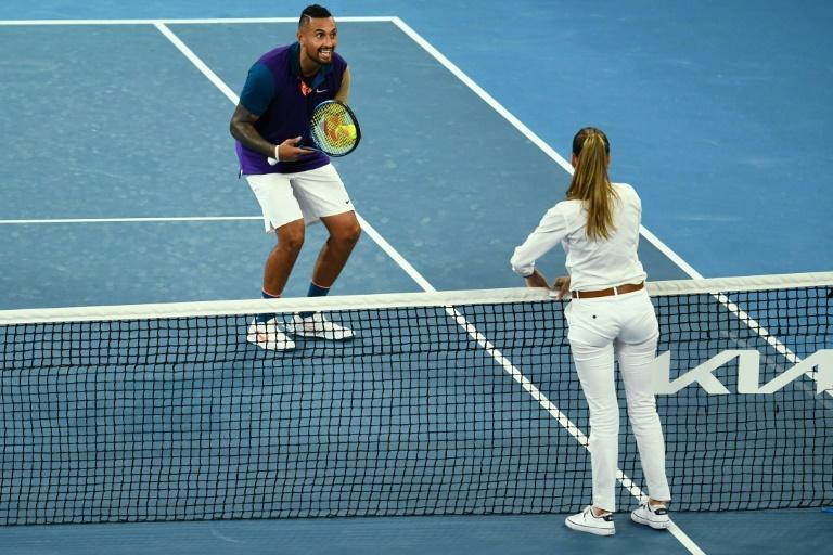 Australia's Nick Kyrgios (L) complained about the net cord sensor during his second-round match