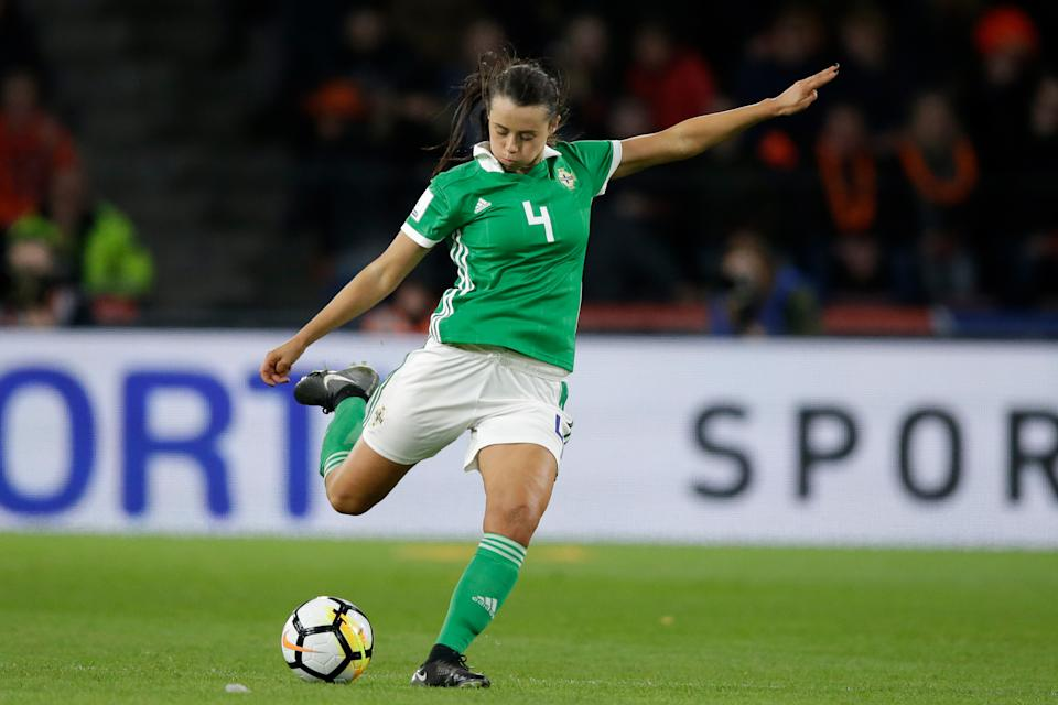EINDHOVEN, NETHERLANDS - APRIL 6: Laura Rafferty of Northern Ireland Women  during the  World Cup Qualifier Women match between Holland  v Northern Ireland  at the Philips Stadium on April 6, 2018 in Eindhoven Netherlands (Photo by Jeroen Meuwsen/Soccrates/Getty Images)