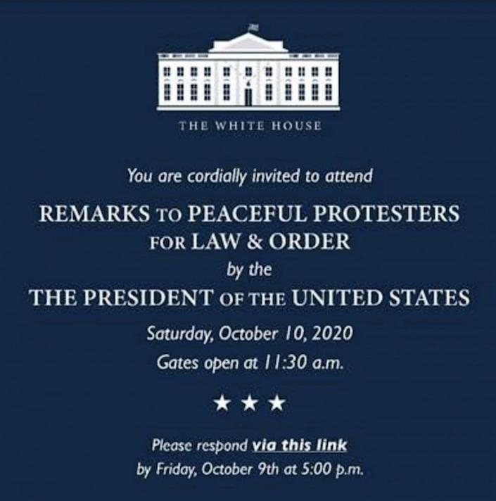 (Credit: <em>This invitation to a White House event scheduled for October 10 was obtained by ABC News.</em>)