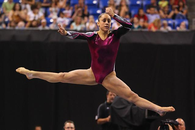 ST. LOUIS, MO - JUNE 10: Jordyn Wieber competes in the floor event during the Senior Women's competition on day four of the Visa Championships at Chaifetz Arena on June 10, 2012 in St. Louis, Missouri. (Photo by Dilip Vishwanat/Getty Images)