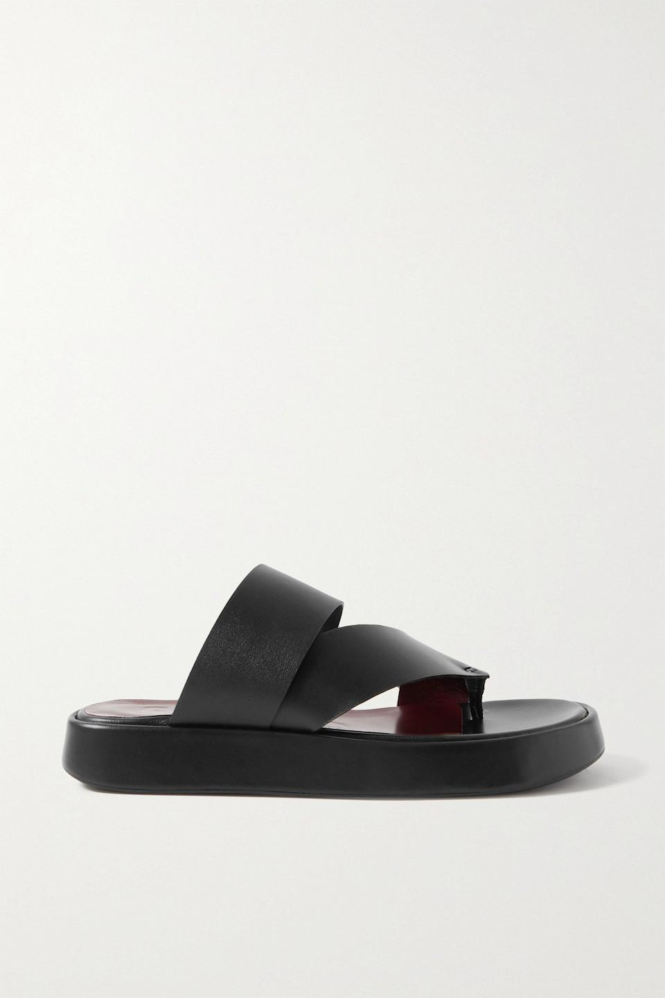"""What can I say? I love a chunky shoe! I'm into the burgundy sole and the leather looks really soft and comfy. I feel like they're going to become my go-to pair this summer.<br><br><strong>Staud</strong> Fly Leather Platform Sandals, $, available at <a href=""""https://www.net-a-porter.com/en-gb/shop/product/staud/fly-leather-platform-sandals/1335265"""" rel=""""nofollow noopener"""" target=""""_blank"""" data-ylk=""""slk:Net-A-Porter"""" class=""""link rapid-noclick-resp"""">Net-A-Porter</a>"""