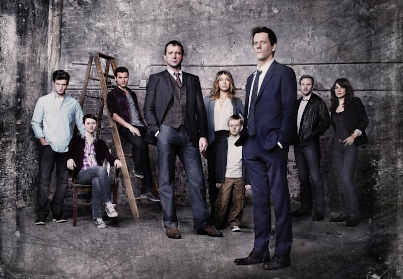 """This undated publicity photo released by FOX shows Kevin Bacon, front right, as former FBI agent Ryan Hardy, who is called out of retirement to track down James Purefoy, as Joe Carroll, in the new psychological thriller """"The Following,"""" premiering Monday, Jan. 21, 2013, (9:00-10:00 PM ET/PT) on FOX. From rear left, cast members, Nico Tortorella, Valorie Curry, Adan Canto, Natalie Zea, Kyle Catlett, Shawn Ashmore and Annie Parisse. (AP Photo/FOX, Michael Lavine)"""