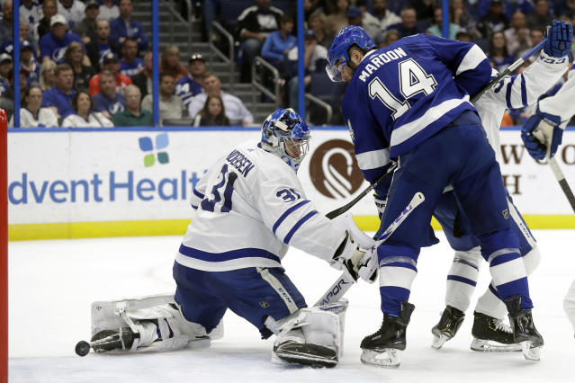 Tampa Bay Lightning left wing Pat Maroon (14) watches his shot get past Toronto Maple Leafs goaltender Frederik Andersen (31) for a goal during the second period of an NHL hockey game Tuesday, Feb. 25, 2020, in Tampa, Fla. (AP Photo/Chris O'Meara)