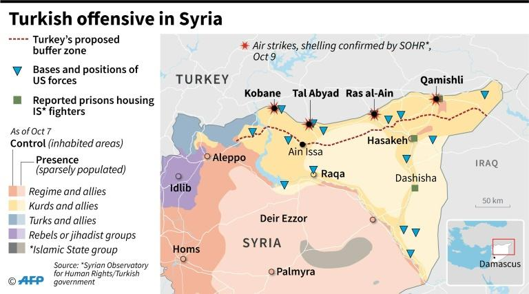 Control of territory in Syria and areas hit by air strikes and shelling as Turkish offensive started against Kurdish militants on October 9