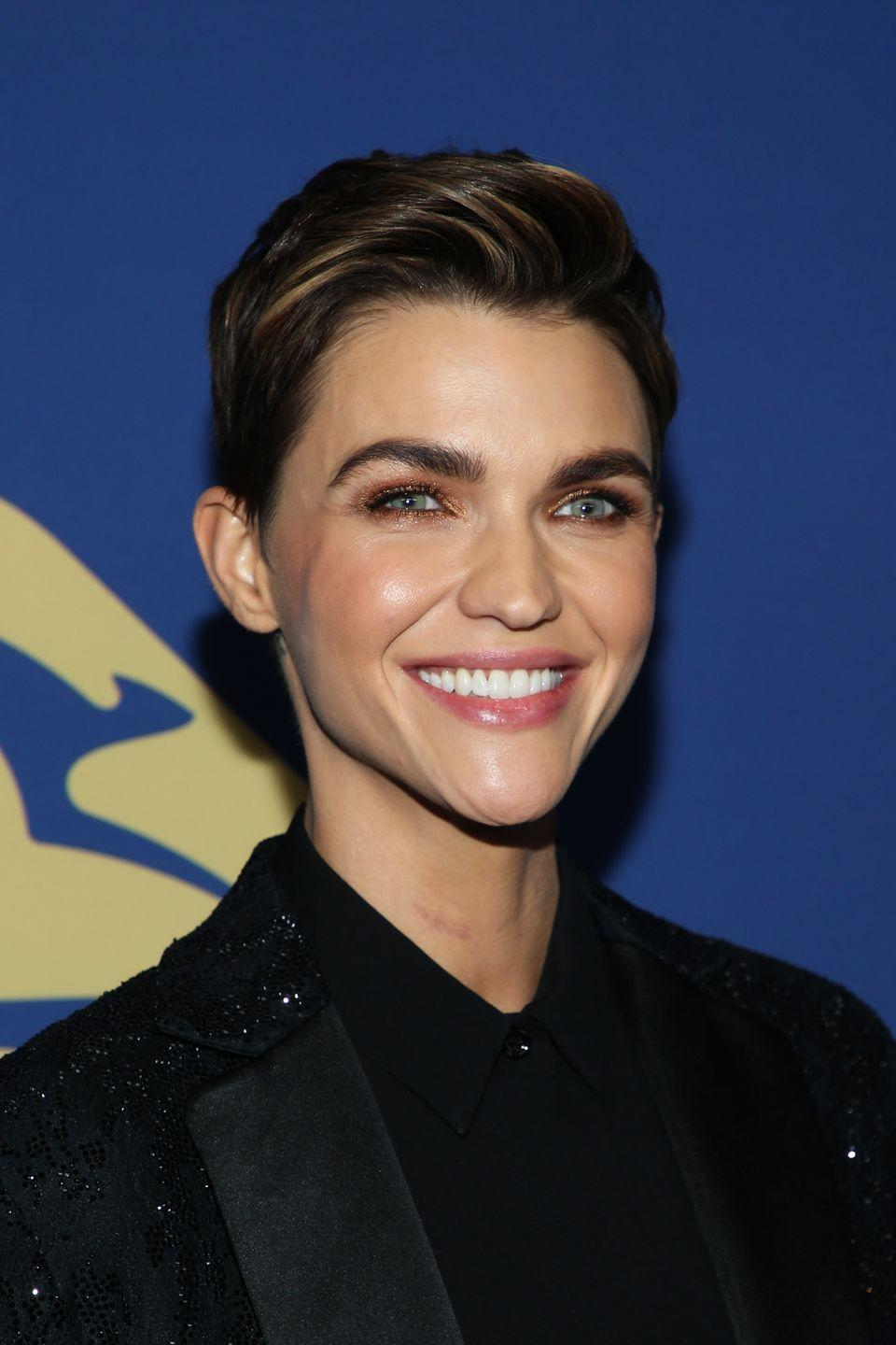 <p>It takes a real beauty to pull off a short, voluminous pixie and Ruby Rose does just that. No one rocks a short cut better than she does.</p>
