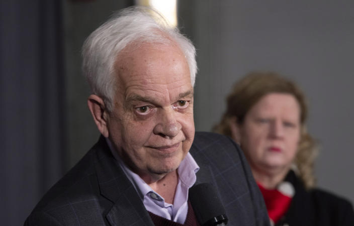 Canadian Ambassador to China, John McCallum, listens to a question following participation at the federal cabinet meeting in Sherbrooke, Quebec, Wednesday, Jan. 16, 2019. (Paul Chiasson/The Canadian Press via AP)