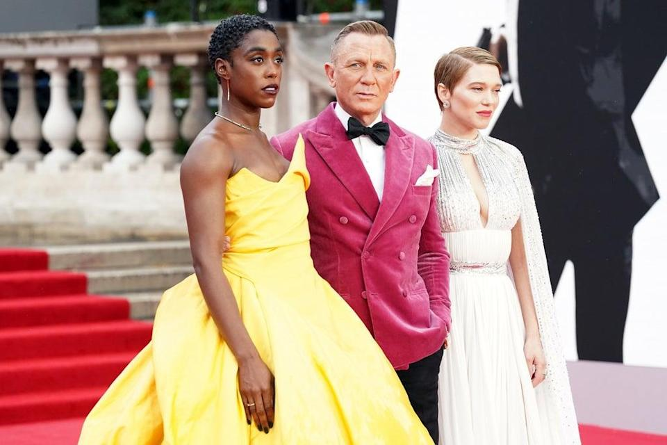 Lashana Lynch, Daniel Craig and Lea Seydoux at the world premiere of No Time To Die at the Royal Albert Hall in London (Jonathan Brady/PA) (PA Wire)