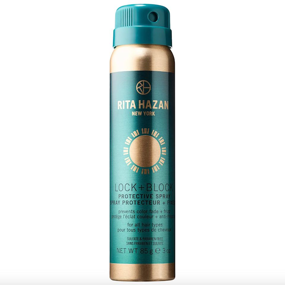 """<p>Along with smoothing frizz, <a href=""""https://www.allure.com/story/beyonce-rita-hazan-blonde-hair-color-otr-ii-interview?mbid=synd_yahoo_rss"""">Rita Hazan's</a> Lock and Block Protective Spray completely coats strands with UV-damage-preventing antioxidants (vitamins A <a href=""""https://www.allure.com/story/vitamin-e-skin-care?mbid=synd_yahoo_rss"""">and E</a>) and hair-softening panthenol. This stuff protects your color and will keep your style in place, too.</p> <p><strong>$26</strong> (<a href=""""https://shop-links.co/1639251611330464221"""" rel=""""nofollow"""">Shop Now</a>)</p>"""